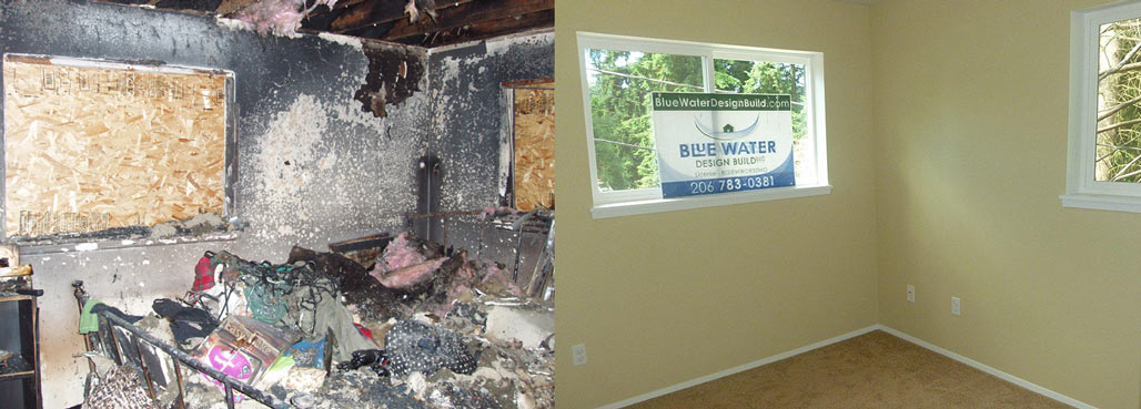 before and after image of a room with fire damage